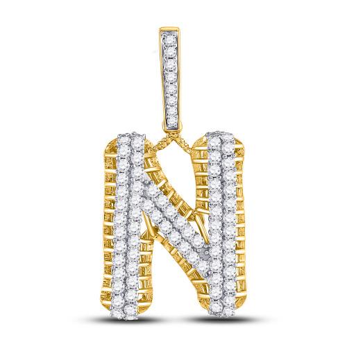 10kt Yellow Gold Mens Round Diamond Letter N Charm Pendant 1-1/2 Cttw