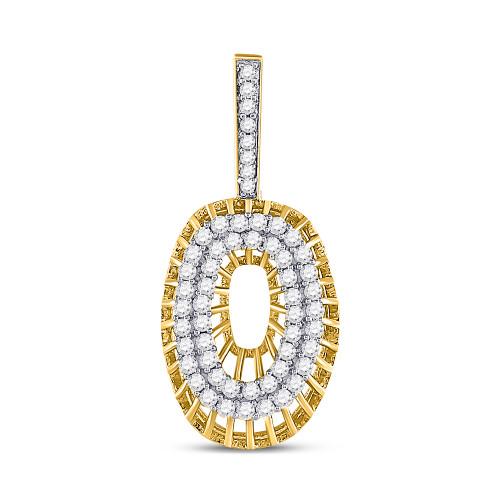 10kt Yellow Gold Mens Round Diamond Letter O Charm Pendant 1.00 Cttw