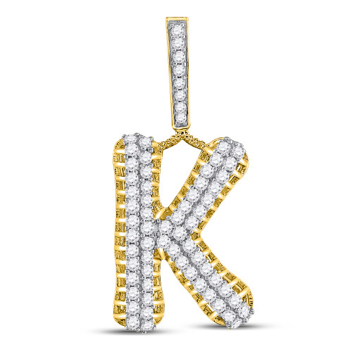 10kt Yellow Gold Mens Round Diamond Letter K Charm Pendant 1-1/3 Cttw