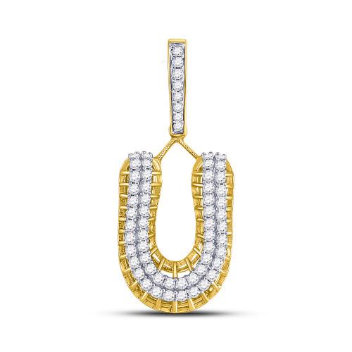 10kt Yellow Gold Mens Round Diamond Letter U Charm Pendant 1-1/4 Cttw
