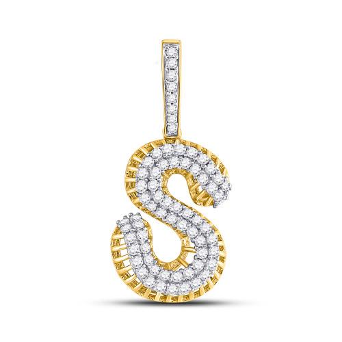 10kt Yellow Gold Mens Round Diamond Letter S Charm Pendant 1-1/3 Cttw