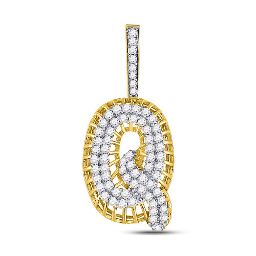 10kt Yellow Gold Mens Round Diamond Letter Q Charm Pendant 1-1/3 Cttw