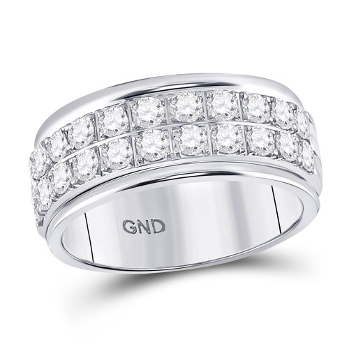 10kt White Gold Womens Round Diamond Double Row Band Ring 1/2 Cttw