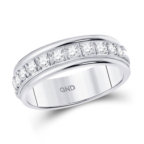 10kt White Gold Womens Round Diamond Single Row Band Ring 1/2 Cttw - 128191