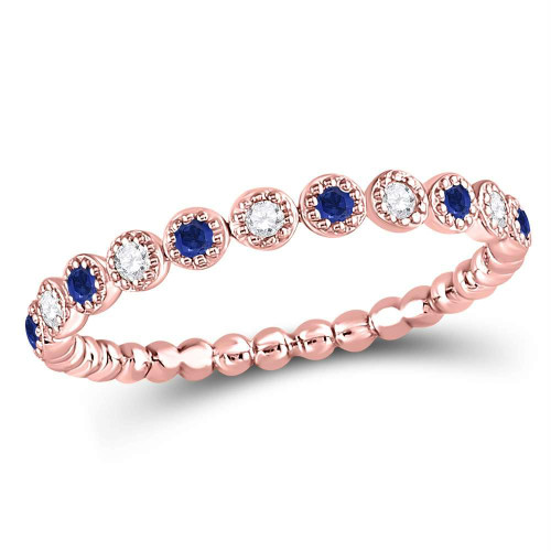 10kt Rose Gold Womens Round Blue Sapphire Diamond Beaded Dot Stackable Band Ring 1/6 Cttw