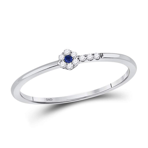 10kt White Gold Womens Round Blue Sapphire Diamond Stackable Band Ring 1/12 Cttw