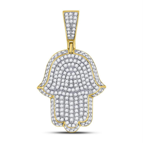 10kt Yellow Gold Mens Round Diamond Hamsa Hand Of Fathima Charm Pendant 1-1/4 Cttw