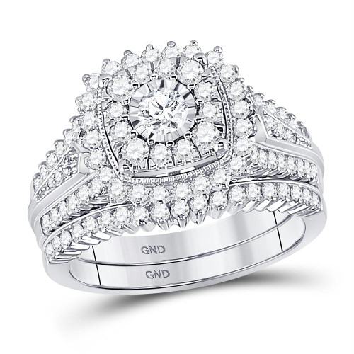 10kt White Gold Womens Round Diamond Bridal Wedding Engagement Ring Band Set 1-1/3 Cttw