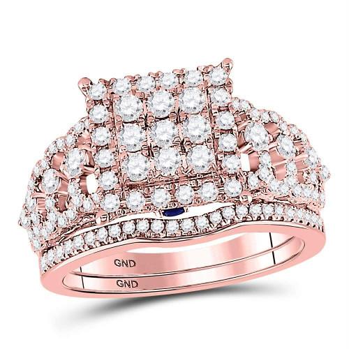 14kt Rose Gold Womens Round Diamond Vintage-inspired Bridal Wedding Engagement Ring Band Set 1.00 Cttw - 127660