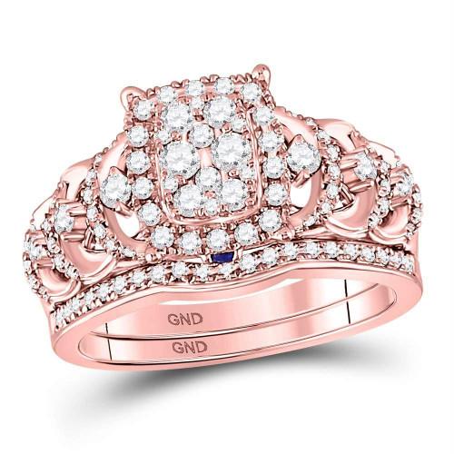 14kt Rose Gold Womens Round Diamond Vintage-inspired Bridal Wedding Engagement Ring Band Set 1.00 Cttw - 127666