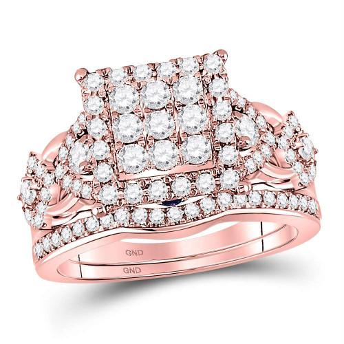 14kt Rose Gold Womens Round Diamond Vintage-inspired Bridal Wedding Engagement Ring Band Set 1-1/4 Cttw