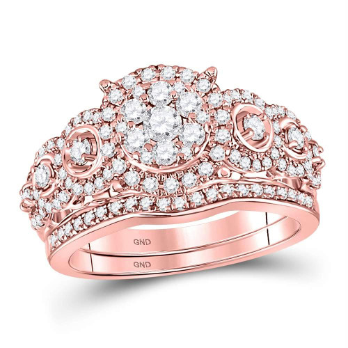 14kt Rose Gold Womens Round Diamond Vintage-inspired Bridal Wedding Engagement Ring Band Set 1.00 Cttw - 127642
