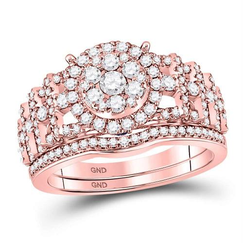 14kt Rose Gold Womens Round Diamond Vintage-inspired Bridal Wedding Engagement Ring Band Set 1.00 Cttw - 127645