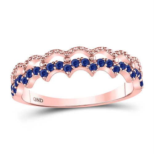 10kt Rose Gold Womens Round Blue Sapphire Scalloped Stackable Band Ring 1/4 Cttw
