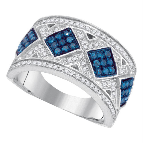 10kt White Gold Womens Round Blue Color Enhanced Diamond Diagonal Square Cluster Band 5/8 Cttw
