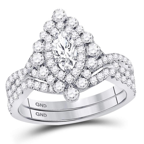 14kt White Gold Womens Marquise Diamond Bridal Wedding Engagement Ring Band Set 2.00 Cttw - 127201