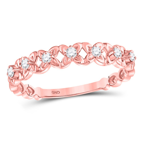 10kt Rose Gold Womens Round Diamond Stackable Band Ring 1/6 Cttw - 119482