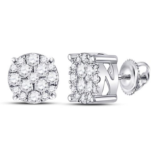 10kt White Gold Womens Round Diamond Cluster Earrings 1/4 Cttw
