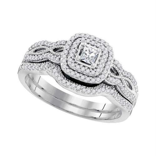 10kt White Gold Womens Princess Diamond Double Halo Bridal Wedding Engagement Ring Band Set 1/10 Cttw