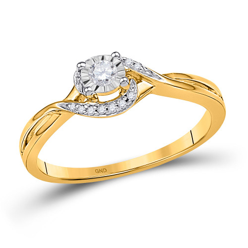 10kt Yellow Gold Womens Round Diamond Solitaire Promise Bridal Ring 1/10 Cttw - 100459