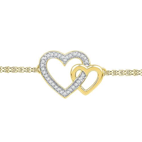 10kt Yellow Gold Womens Round Diamond Double Heart Bracelet 1/10 Cttw