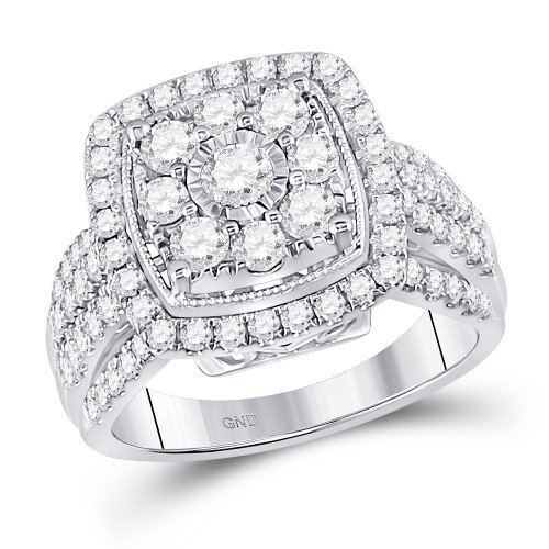 14kt White Gold Womens Round Diamond Cluster Ring 1-1/2 Cttw