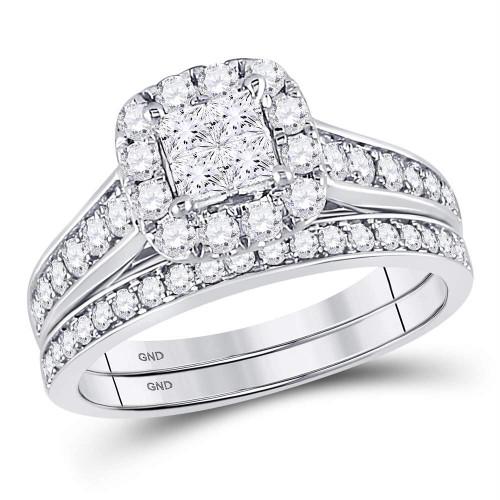 14kt White Gold Womens Princess Diamond Bridal Wedding Engagement Ring Band Set 1.00 Cttw - 120360