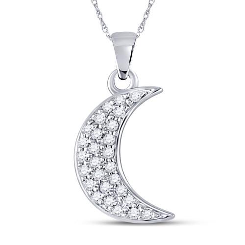 10kt White Gold Womens Round Diamond Crescent Moon Fashion Pendant 1/8 Cttw