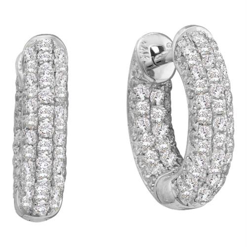 14kt White Gold Womens Round Pave-set Diamond Dainty Huggie Hoop Earrings 3/4 Cttw