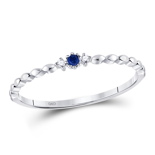 10kt White Gold Womens Round Blue Sapphire Stackable Band Ring .03 Cttw