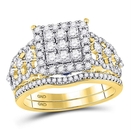 14kt Yellow Gold Womens Round Diamond Bridal Wedding Engagement Ring Band Set 1.00 Cttw - 127658
