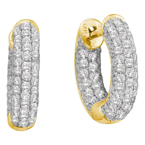 14kt Yellow Gold Womens Round Diamond Huggie Earrings 3/4 Cttw