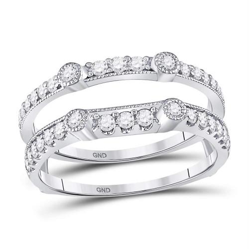 14kt White Gold Womens Round Diamond Milgrain Dot Wedding Enhancer Wrap Band 1/2 Cttw