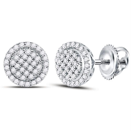 14kt White Gold Womens Round Diamond Circle Cluster Stud Earrings 1/4 Cttw - 120330