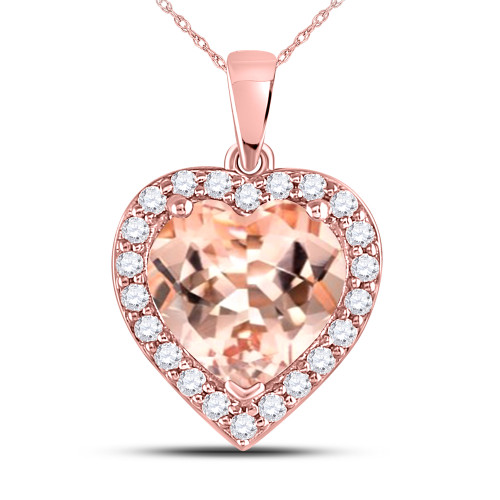 10kt Rose Gold Womens Morganite Heart Diamond Pendant 2-1/4 Cttw