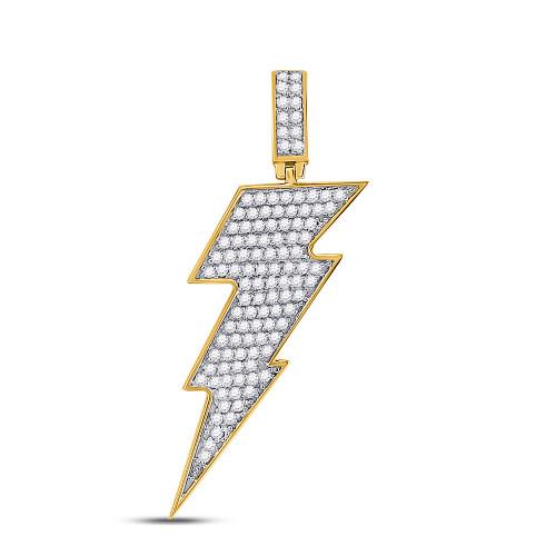 10kt Yellow Gold Mens Round Diamond Lightning Bolt Charm Pendant 1.00 Cttw