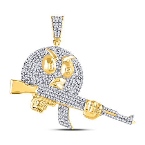 10kt Yellow Gold Mens Round Diamond Angry Bird Assault Rifle Charm Pendant 1.00 Cttw