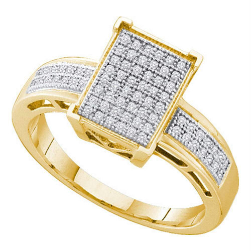 10kt Yellow Gold Womens Round Diamond Rectangle Cluster Bridal Wedding Engagement Ring 1/5 Cttw