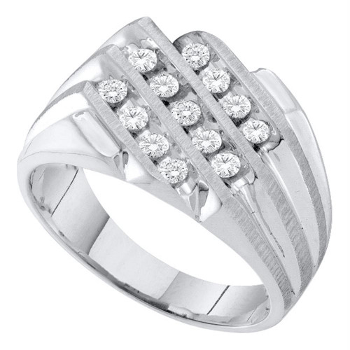 10kt White Gold Mens Round Diamond 3-row Cluster Ring 1/2 Cttw