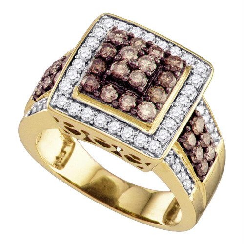 10kt Yellow Gold Womens Round Brown Diamond Square Cluster Ring 1-1/2 Cttw