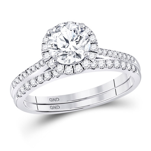 14kt White Gold Womens Round Diamond Bridal Wedding Engagement Ring Band Set 1-3/8 Cttw (certified)