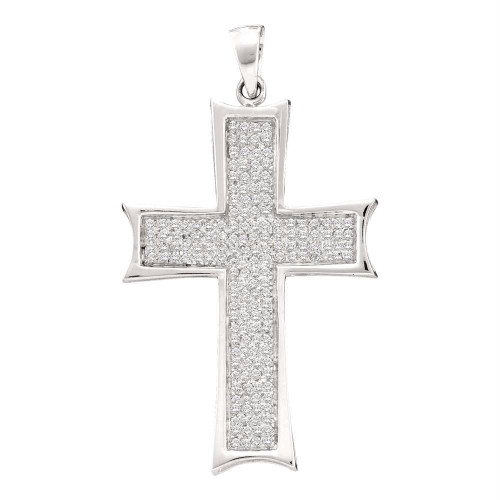 10kt White Gold Mens Round Diamond Flared Roman Cross Charm Pendant 1/2 Cttw