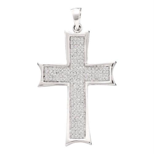 10kt White Gold Mens Round Diamond Flared Roman Cross Charm Pendant 1/2 Cttw