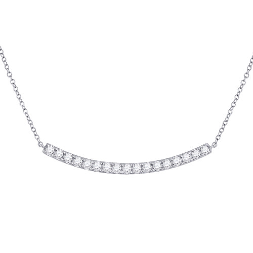 14kt White Gold Womens Round Diamond Curved Bar Necklace 3/4 Cttw - 148999