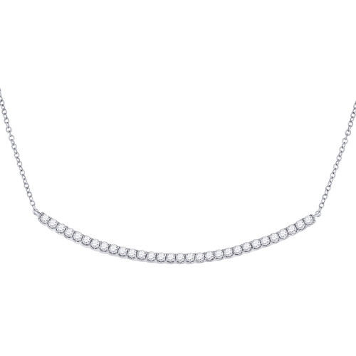 14kt White Gold Womens Round Diamond Curved Bar Necklace 1.00 Cttw