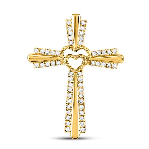 10kt Yellow Gold Womens Round Diamond Heart Cross Pendant 1/4 Cttw