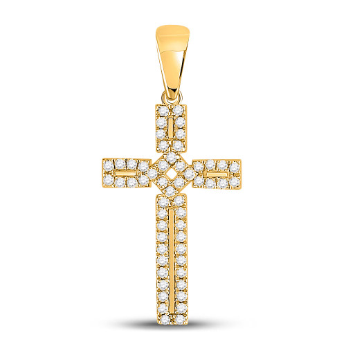 10kt Yellow Gold Womens Round Diamond Roman Cross Pendant 1/3 Cttw