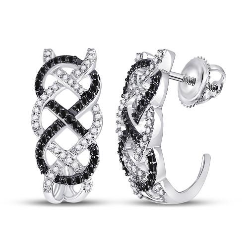 10kt White Gold Womens Round Black Color Enhanced Diamond Hoop Earrings 1/2 Cttw - 92542
