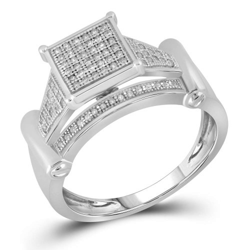 10kt White Gold Womens Round Diamond Elevated Square Cluster Ring 1/4 Cttw - 63803