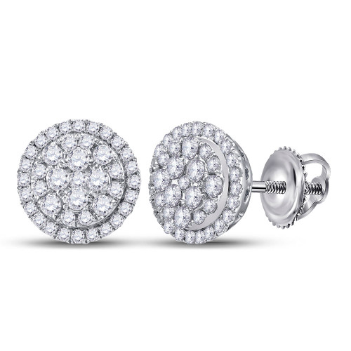14kt White Gold Womens Round Diamond Halo Cluster Earrings 1/2 Cttw